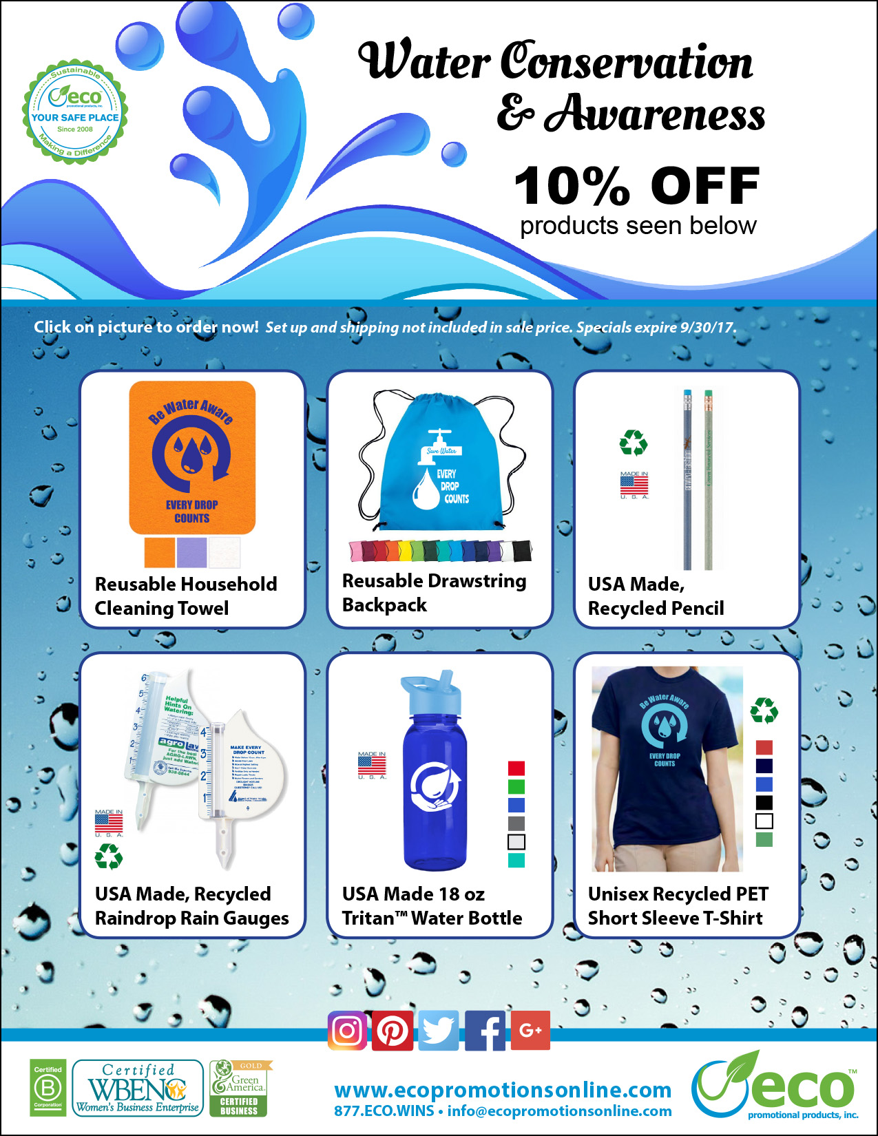 Water Conservation and Water Awareness Promotional Sale