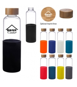 18 oz Silicone Sleeve Glass Bottle Bamboo Cap