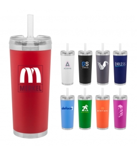 24 oz double wall stainless steel thermal tumbler with straw