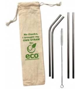 Custom 4 piece stainless steel straw set in pouch