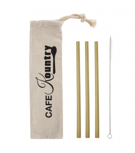 Bamboo Straw Kit in Cotton Pouch Reusable Bamboo Straws