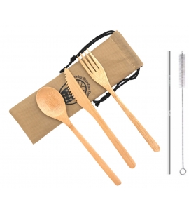 Bamboo Utensils with Straw and Cleaning Brush in Custom Pouch