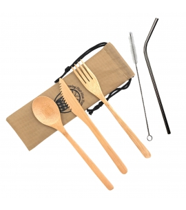 Bamboo utensil set with bent stainless steel straw
