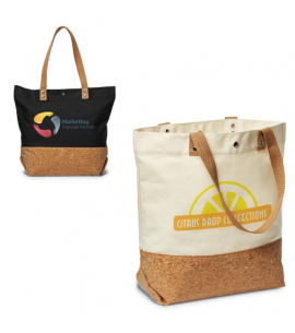 Cotton Canvas & Cork Shopper Tote |12 oz | Reusable | 16x14x6