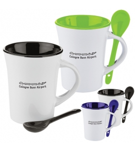 Coffee mug with spoon in handle custom coffee mug eco friendly promotional product