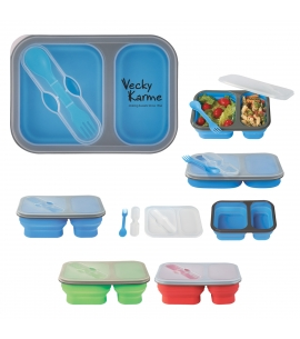 Collapsible 2-section Waste-Free Lunch Container w/ Utensil