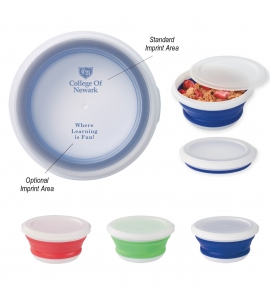 COLLAPSIBLE FOOD BOWL Custom collapsible silicone bowl, imprinted silicone bowls