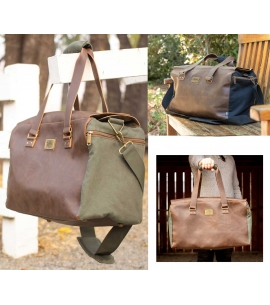 Custom Cotton Canvas Vegan Leather Duffel Bag