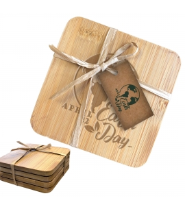 Custom Engraved Bamboo Coaster Set with Printed Gift Tag