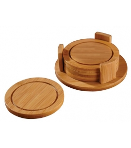 Custom coaster set bamboo engraved coasters eco friendly promo