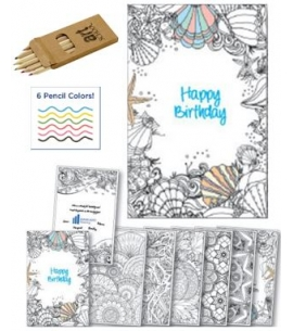 Custom Coloring Birthday Card Booklet With Pencil Kit