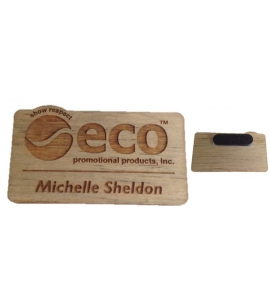 Recycled Wood USA Made Custom Name Badge