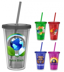 Full Color Custom Tumbler with Straw