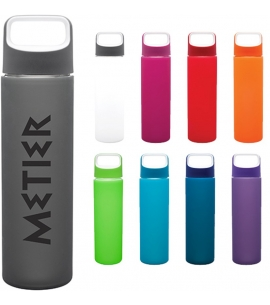 18 oz Custom Glass Bottle with Silicone Sleeve h2go Inspire