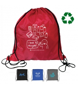 America Recycles Recycled Water Bottle Drawstring Backpack