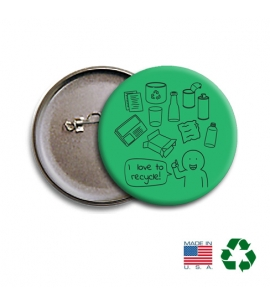 America Recycles | USA Made Recycled Buttons | 2-1/4""