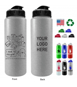 America Recycles 32 oz USA Made Recycled Water Bottle