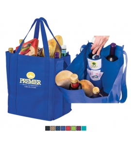 Wine and Grocery Combo Tote Bag Recycled Grocery Bag