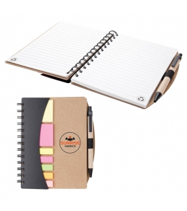mini notebook with pen and sticky notes recycled promotional product