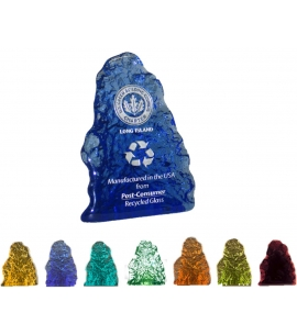 Recycled Glass Trophy | USA Made | Mountain Shape