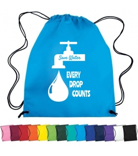 Non woven custom drawstring cinch backpack save water promo