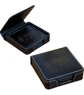 Premium Bonded Leather Coaster Set | Recycled