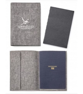 Recycled Gray Passport Holder With Notebook