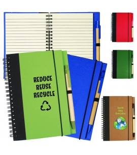 Recycled Hard Cover Notebook with Pen