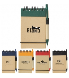 Recycled notebook and pen set recycled promotional product