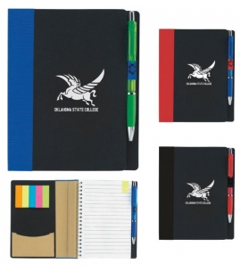 "Recycled Notebook with Sticky Notes 5"" x 7"" ECO Notebook with Flags"