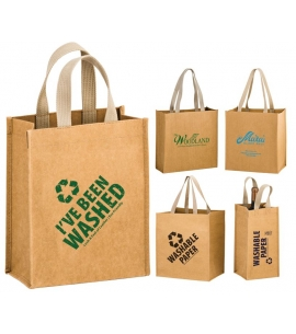 WASHABLE KRAFT PAPER GROCERY TOTE BAG WITH WEB HANDLE