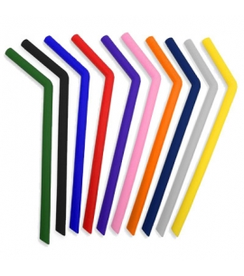Reusable Silicone Bent Straws - Colors