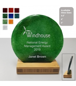 USA made round recycled glass award on bamboo stand 4""