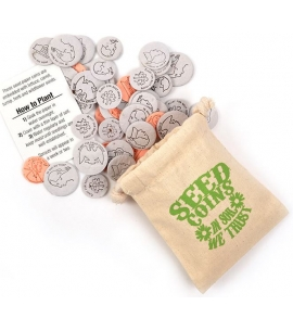 Seeded Recycled Plantable Coins in Cotton Pouch - USA Made
