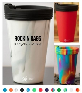 Custom Silipint reusable silicone cups with travel lid