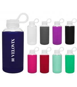 Single wall borosilicate glass bottle custom glass water bottles glass water bottle silicone sleeve