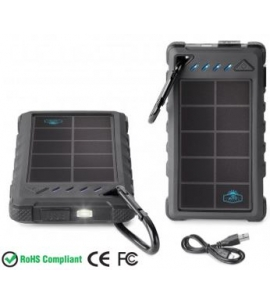 Custom Solar charger with carabiner and flashlight