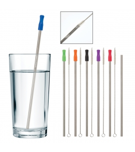 Stainless Steel Straw Set | Silicone Tip | Cleaning Brush