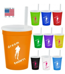 USA Made Custom Cup with lid and straw promotion