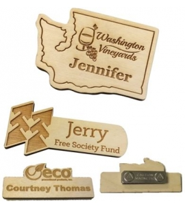 USA Made etched custom shape name badges custom name badges wood name badges eco friendly badges