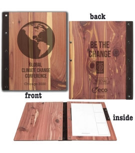 USA Made Reusable Wood Padfolio Climate Change