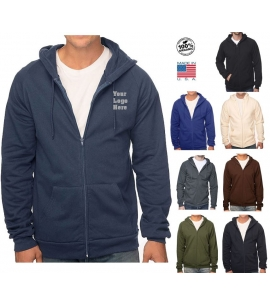 USA Made certified organic cotton full zip hoodie promo
