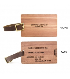 Woodchuck custom USA made sustainable wood luggage tags engraved