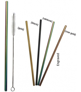 all colored engraved stainless steel straws with cleaner
