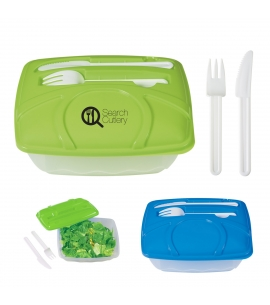 custom waste free lunch container with fork and knife