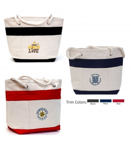 Cotton Canvas Striped Boat Tote | Recycled | 16 oz | 18x13x7