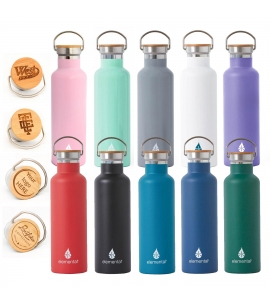 Elemental Stainless Steel Water Bottle with Engraved Bamboo Lid