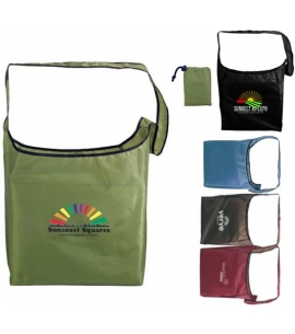 Recycled PET sling foldaway bag recycled promotional bag