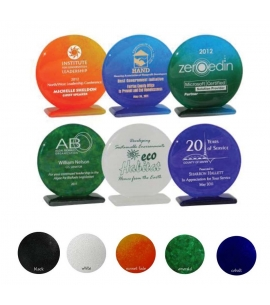 "Recycled Glass Award | USA Made 5"" Round Shape"