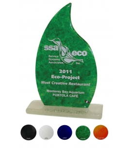 "Recycled Glass Award, USA Made 8"" Flame Shape"